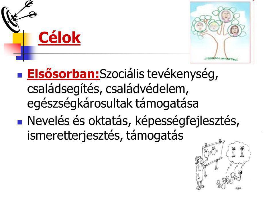Célok  Elsősorban:Szociális tevékenység, családsegítés, családvédelem, egészségkárosultak támogatása  Nevelés és oktatás, képességfejlesztés, ismere