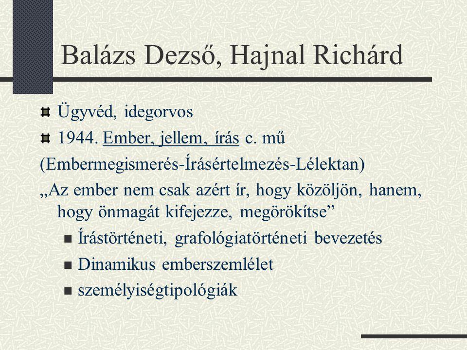 """Balázs Dezső, Hajnal Richárd Ügyvéd, idegorvos 1944. Ember, jellem, írás c. mű (Embermegismerés-Írásértelmezés-Lélektan) """"Az ember nem csak azért ír,"""