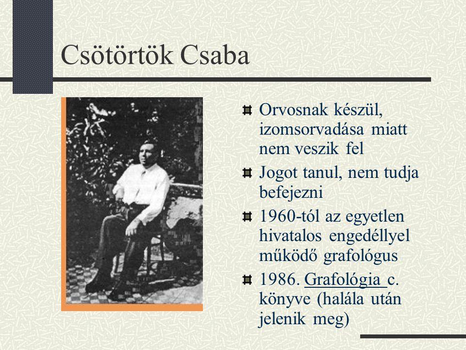 Csötörtök Csaba Orvosnak készül, izomsorvadása miatt nem veszik fel Jogot tanul, nem tudja befejezni 1960-tól az egyetlen hivatalos engedéllyel működő grafológus 1986.