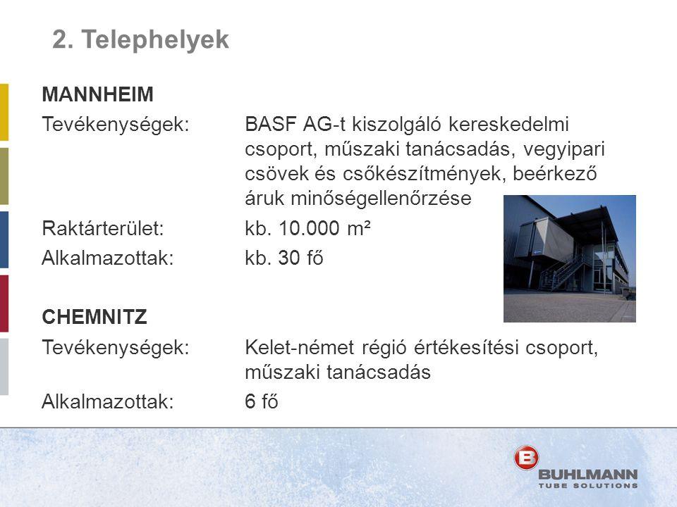 MANNHEIM Tevékenységek:BASF AG-t kiszolgáló kereskedelmi csoport, műszaki tanácsadás, vegyipari csövek és csőkészítmények, beérkező áruk minőségellenő