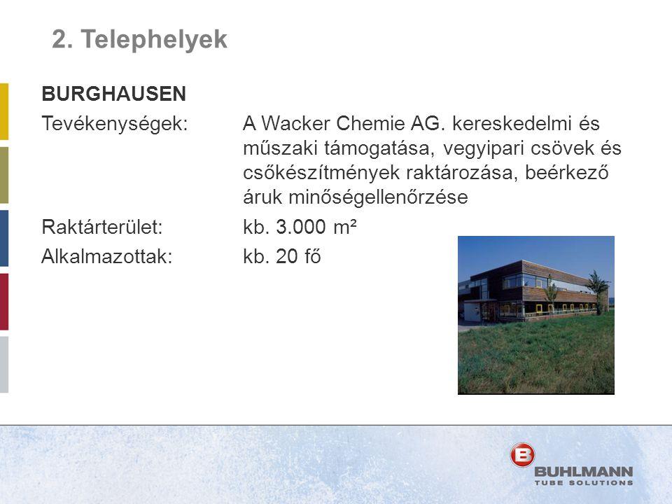 BURGHAUSEN Tevékenységek:A Wacker Chemie AG. kereskedelmi és műszaki támogatása, vegyipari csövek és csőkészítmények raktározása, beérkező áruk minősé