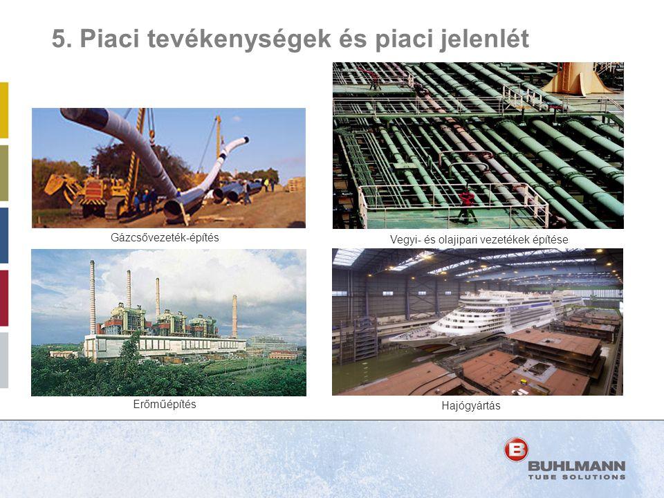Vegyi- és olajipari vezetékek építése Erőműépítés Hajógyártás Gázcsővezeték-építés 5. Piaci tevékenységek és piaci jelenlét