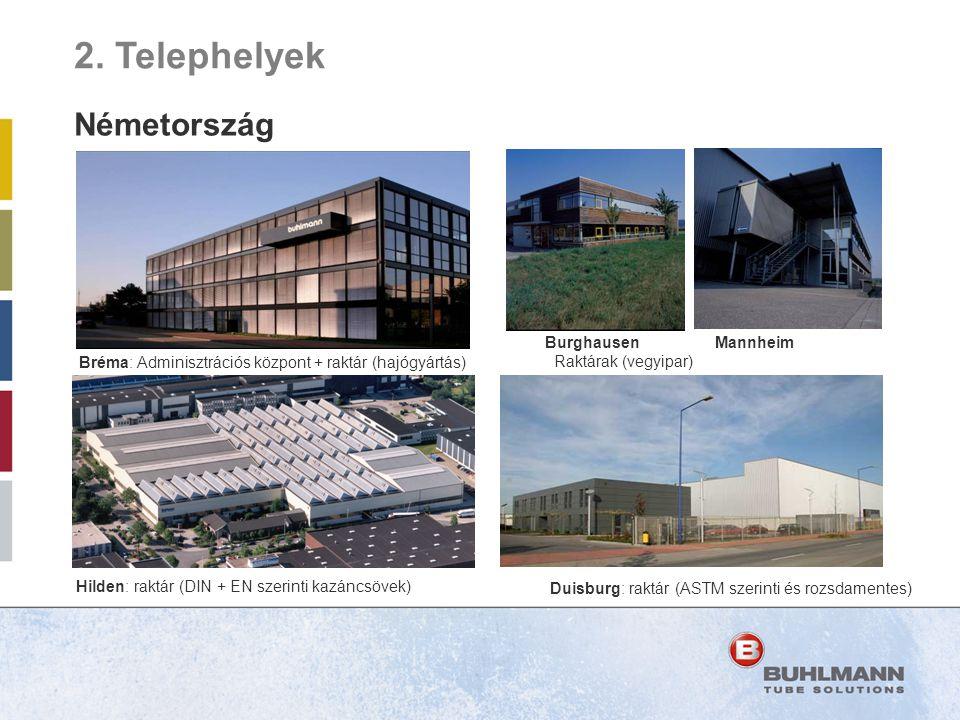 Photo Hilden building F Photo Duisburg building Photo Mannheim Bréma: Adminisztrációs központ + raktár (hajógyártás) Burghausen Mannheim Raktárak (veg