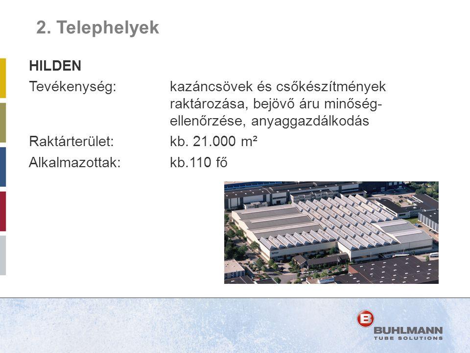 HILDEN Tevékenység: kazáncsövek és csőkészítmények raktározása, bejövő áru minőség- ellenőrzése, anyaggazdálkodás Raktárterület:kb. 21.000 m² Alkalmaz