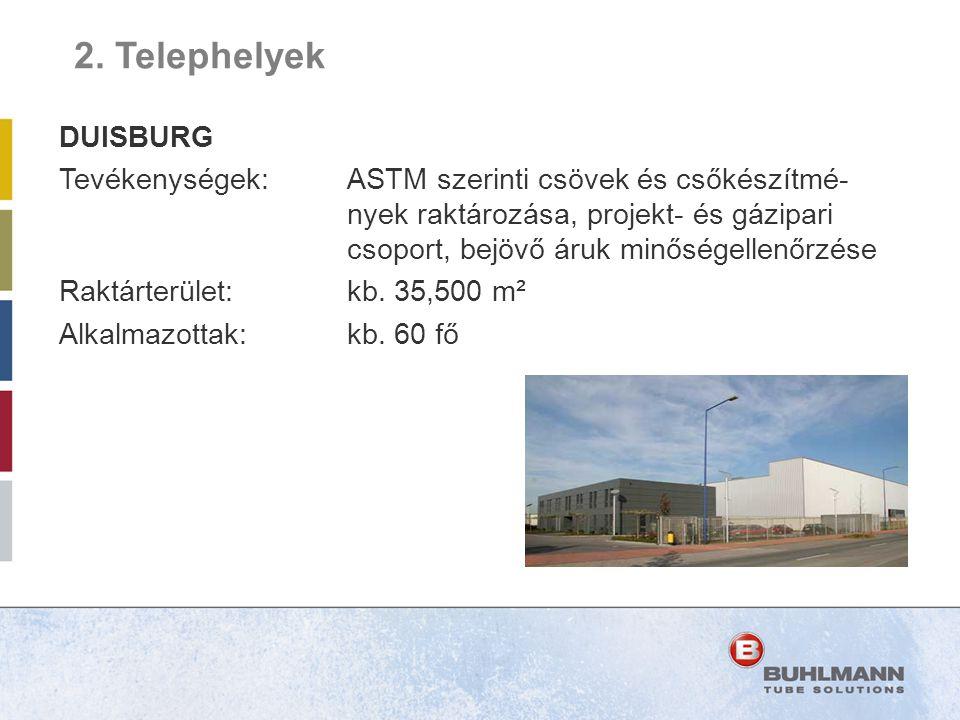 DUISBURG Tevékenységek:ASTM szerinti csövek és csőkészítmé- nyek raktározása, projekt- és gázipari csoport, bejövő áruk minőségellenőrzése Raktárterül