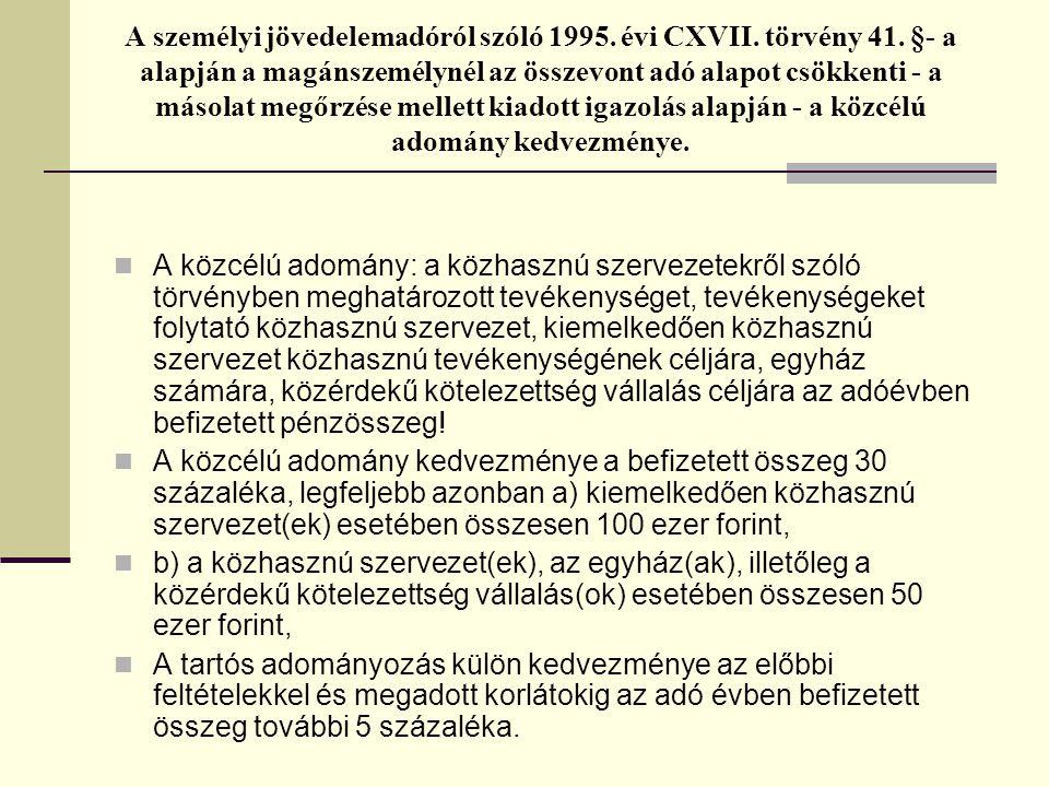 A személyi jövedelemadóról szóló 1995. évi CXVII. törvény 41. §- a alapján a magánszemélynél az összevont adó alapot csökkenti - a másolat megőrzése m
