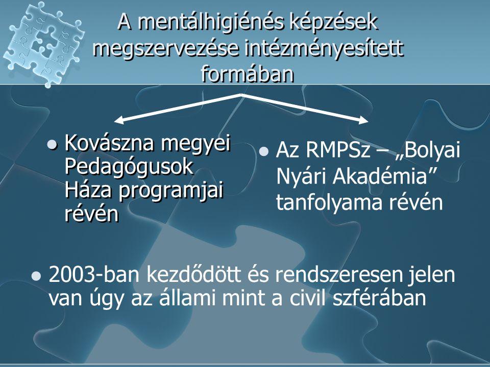"""A mentálhigiénés képzések megszervezése intézményesített formában  Kovászna megyei Pedagógusok Háza programjai révén  Az RMPSz – """"Bolyai Nyári Akadé"""