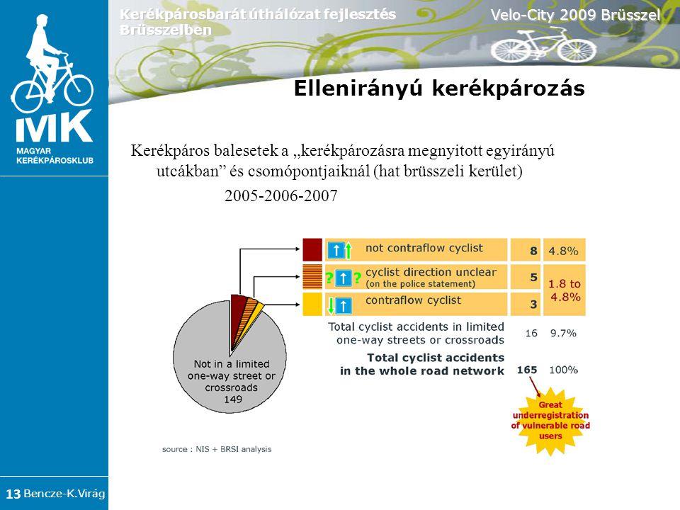 """Bencze-K.Virág Velo-City 2009 Brüsszel 13 Kerékpárosbarát úthálózat fejlesztés Brüsszelben Kerékpáros balesetek a """"kerékpározásra megnyitott egyirányú utcákban és csomópontjaiknál (hat brüsszeli kerület) 2005-2006-2007 Ellenirányú kerékpározás"""