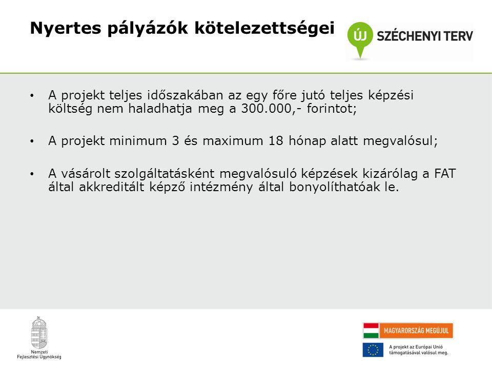 Nyertes pályázók kötelezettségei • A projekt teljes időszakában az egy főre jutó teljes képzési költség nem haladhatja meg a 300.000,- forintot; • A p