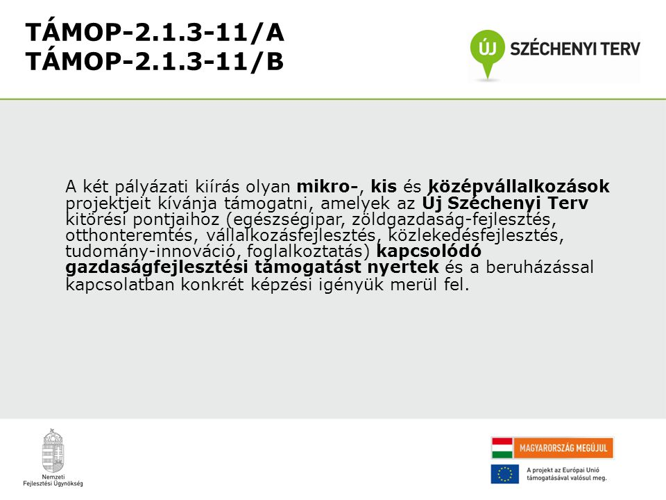 TÁMOP-2.1.3-11/A TÁMOP-2.1.3-11/B A két pályázati kiírás olyan mikro-, kis és középvállalkozások projektjeit kívánja támogatni, amelyek az Új Szécheny