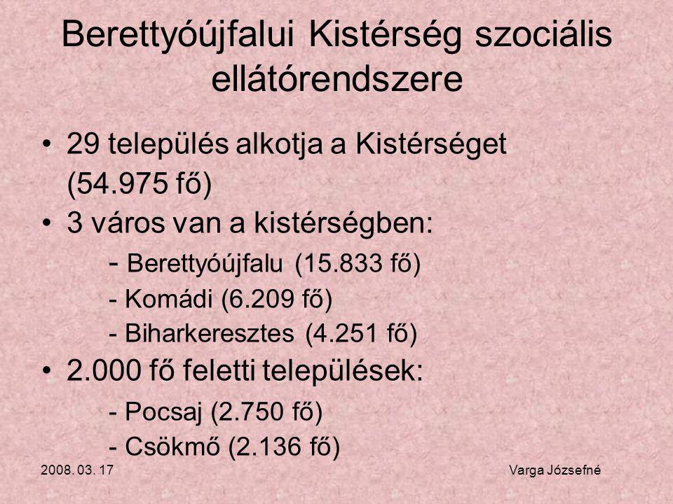 2008. 03. 17 Varga Józsefné Berettyóújfalui Kistérség szociális ellátórendszere •29 település alkotja a Kistérséget (54.975 fő) •3 város van a kistérs