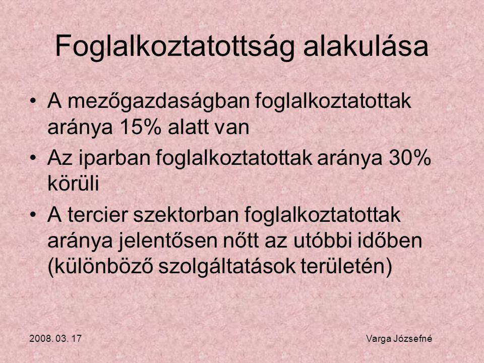 2008. 03. 17 Varga Józsefné Foglalkoztatottság alakulása •A mezőgazdaságban foglalkoztatottak aránya 15% alatt van •Az iparban foglalkoztatottak arány