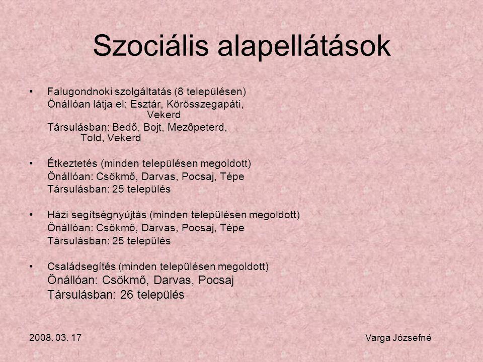 2008. 03. 17 Varga Józsefné Szociális alapellátások •Falugondnoki szolgáltatás (8 településen) Önállóan látja el: Esztár, Körösszegapáti, Vekerd Társu