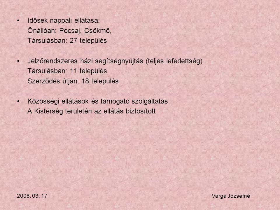 2008. 03. 17 Varga Józsefné •Idősek nappali ellátása: Önállóan: Pocsaj, Csökmő, Társulásban: 27 település •Jelzőrendszeres házi segítségnyújtás (telje