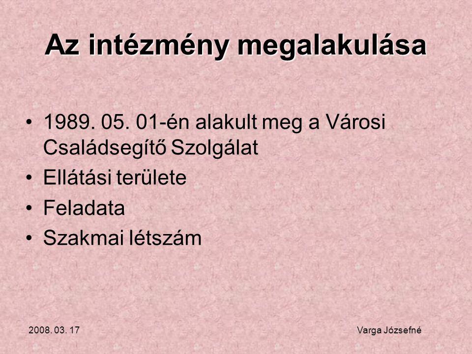 2008. 03. 17 Varga Józsefné Az intézmény megalakulása •1989. 05. 01-én alakult meg a Városi Családsegítő Szolgálat •Ellátási területe •Feladata •Szakm