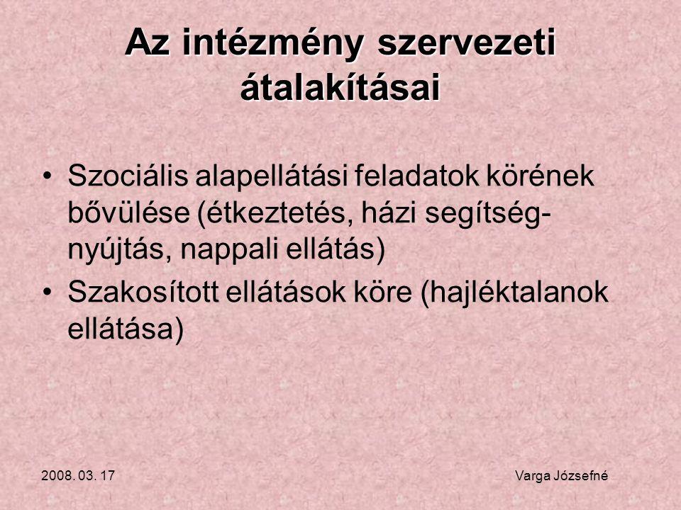 2008.03. 17 Varga Józsefné Az intézmény jelenlegi feladatellátása •2006.