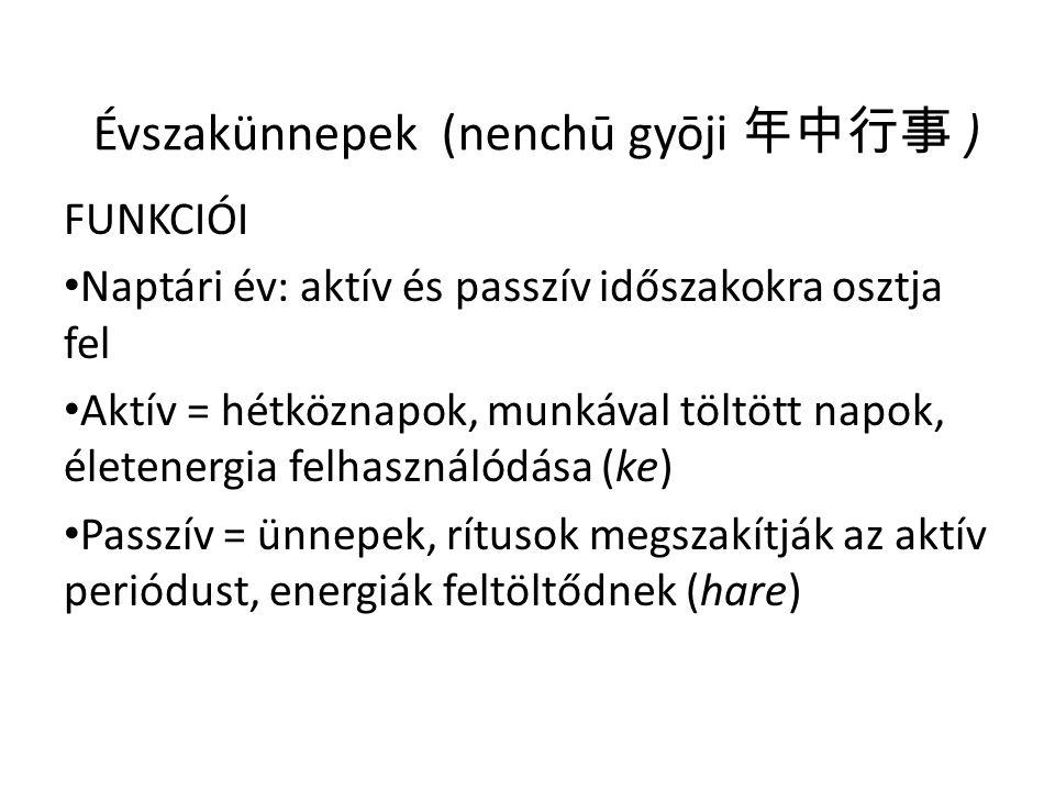 Évszakünnepek (nenchū gyōji 年中行事 ) FUNKCIÓI • Naptári év: aktív és passzív időszakokra osztja fel • Aktív = hétköznapok, munkával töltött napok, életenergia felhasználódása (ke) • Passzív = ünnepek, rítusok megszakítják az aktív periódust, energiák feltöltődnek (hare)