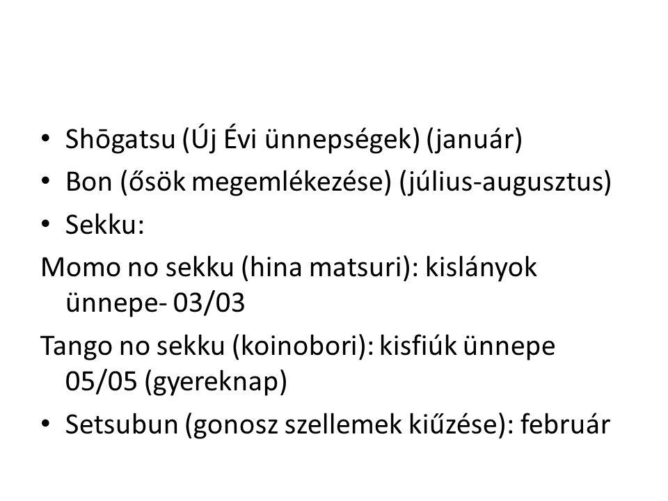 • a várandóssághoz és a gyermek első éveihez kapcsolódó rítusok obiiwai 帯祝い shichiya 七夜 miyamairi 宮参り shichigosan 七五三 • a pubertásból a felnőttkorba való átmenethez kapcsolódó rítusok, beavatási szertartások (coming of age rites) Ma: seijinshiki 成人式 (20 év) • Házasság kekkonshiki 結婚式 • Szerencsétlen évek yakudoshi 厄年 : Férfiak: 25, 42, 61 Nők: 19, 33, 37 • Temetés és megemlékező rítusok sōshiki 葬式 Átmeneti rítusok