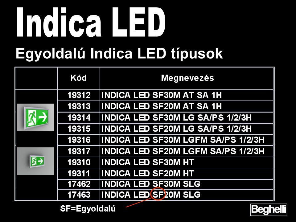 Egyoldalú Indica LED típusok SF=Egyoldalú