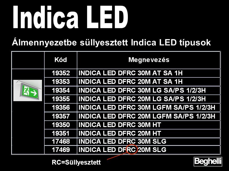 Álmennyezetbe süllyesztett Indica LED típusok RC=Süllyesztett