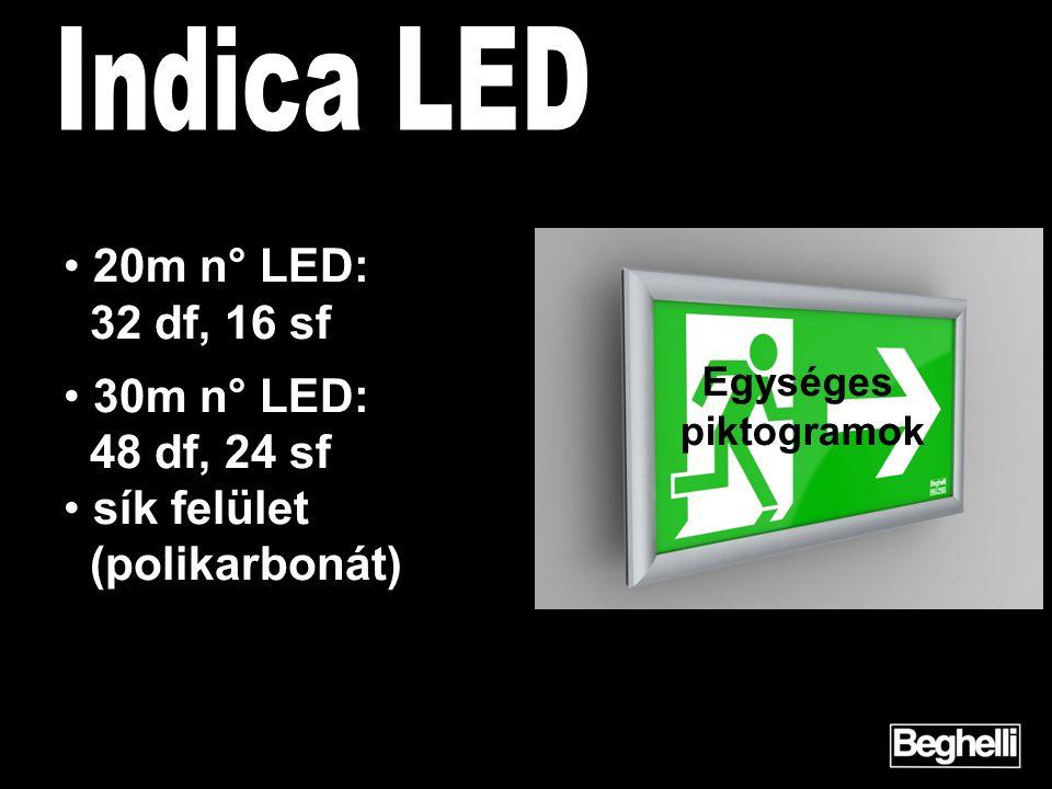 • 20m n° LED: 32 df, 16 sf • 30m n° LED: 48 df, 24 sf • sík felület (polikarbonát) Egységes piktogramok