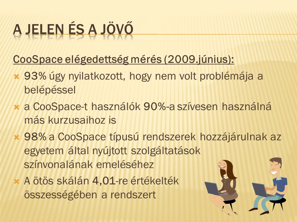 CooSpace elégedettség mérés (2009.június):  93% úgy nyilatkozott, hogy nem volt problémája a belépéssel  a CooSpace-t használók 90%-a szívesen haszn
