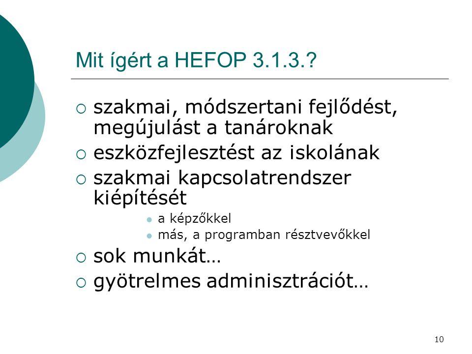 10 Mit ígért a HEFOP 3.1.3..