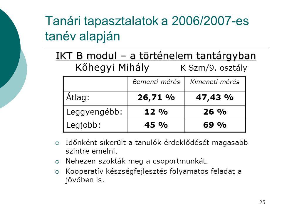 25 Tanári tapasztalatok a 2006/2007-es tanév alapján IKT B modul – a történelem tantárgyban IKT B modul – a történelem tantárgyban Kőhegyi Mihály K Szm/9.
