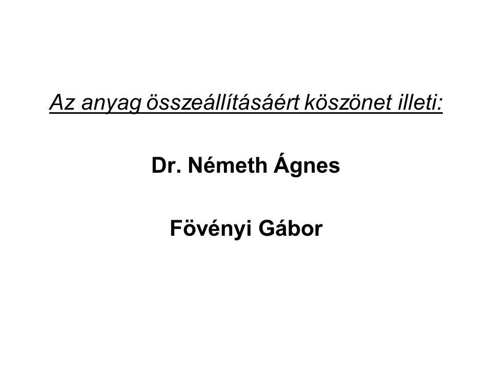 Az anyag összeállításáért köszönet illeti: Dr. Németh Ágnes Fövényi Gábor