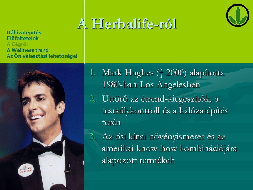 A Herbalife-ról 1.Mark Hughes († 2000) alapította 1980-ban Los Angelesben 2.Úttörő az étrend-kiegészítők, a testsúlykontroll és a hálózatépítés terén