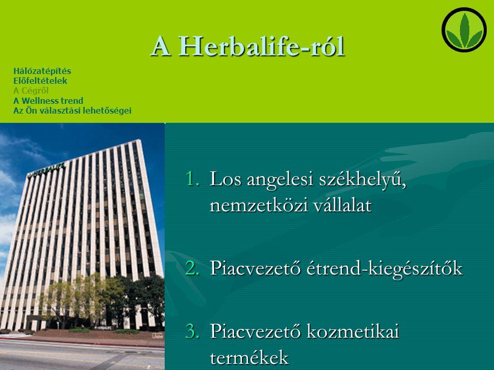 A Herbalife-ról 1.Los angelesi székhelyű, nemzetközi vállalat 2.Piacvezető étrend-kiegészítők 3.Piacvezető kozmetikai termékek Hálózatépítés Előfeltét
