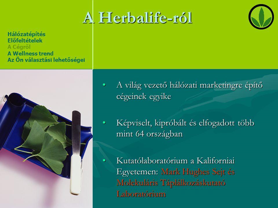 A Herbalife-ról •A világ vezető hálózati marketingre építő cégeinek egyike •Képviselt, kipróbált és elfogadott több mint 64 országban •Kutatólaboratór