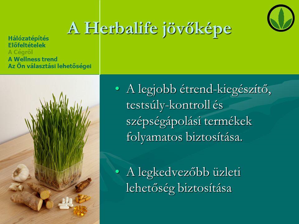 A Herbalife jövőképe •A legjobb étrend-kiegészítő, testsúly-kontroll és szépségápolási termékek folyamatos biztosítása. •A legkedvezőbb üzleti lehetős