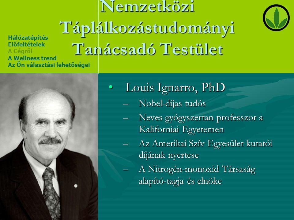 Nemzetközi Táplálkozástudományi Tanácsadó Testület •Louis Ignarro, PhD –Nobel-díjas tudós –Neves gyógyszertan professzor a Kaliforniai Egyetemen –Az A