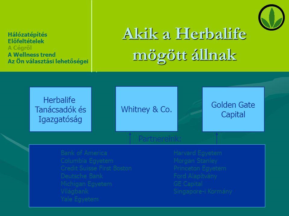 Akik a Herbalife mögött állnak Herbalife Tanácsadók és Igazgatóság Whitney & Co. Golden Gate Capital Hálózatépítés Előfeltételek A Cégről A Wellness t