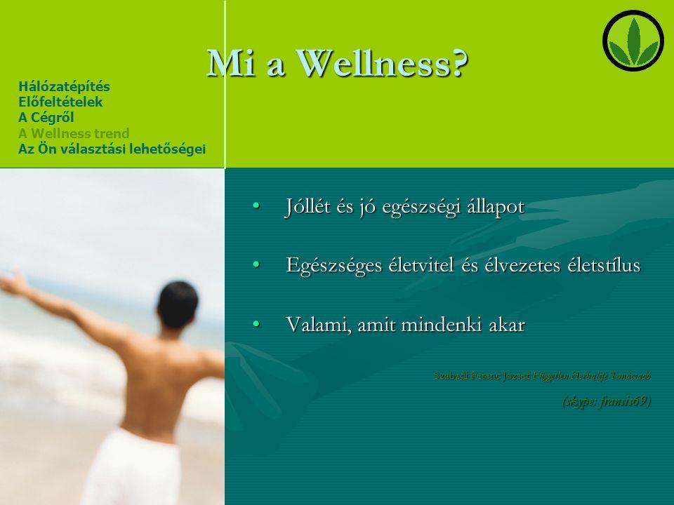 Mi a Wellness? •Jóllét és jó egészségi állapot •Egészséges életvitel és élvezetes életstílus •Valami, amit mindenki akar Szabadi Ferenc József Függetl