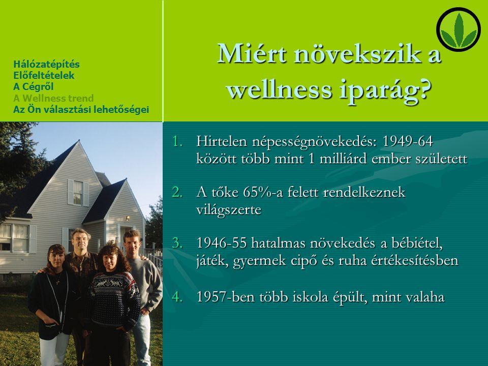Miért növekszik a wellness iparág? 1.Hirtelen népességnövekedés: 1949-64 között több mint 1 milliárd ember született 2.A tőke 65%-a felett rendelkezne