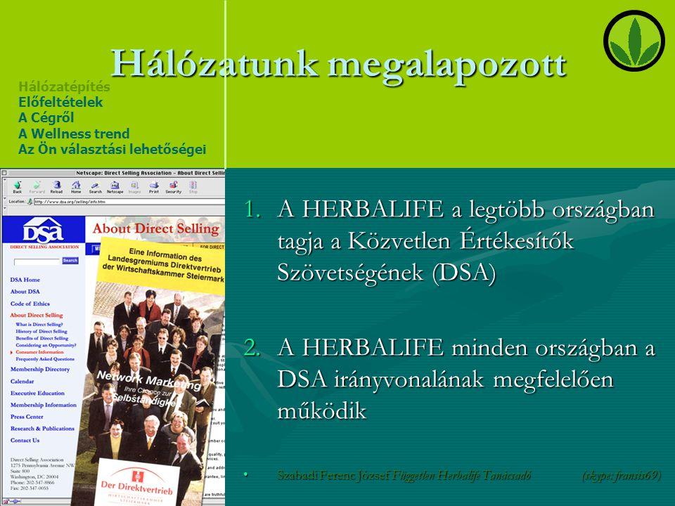 Hálózatunk megalapozott 1.A HERBALIFE a legtöbb országban tagja a Közvetlen Értékesítők Szövetségének (DSA) 2.A HERBALIFE minden országban a DSA irány