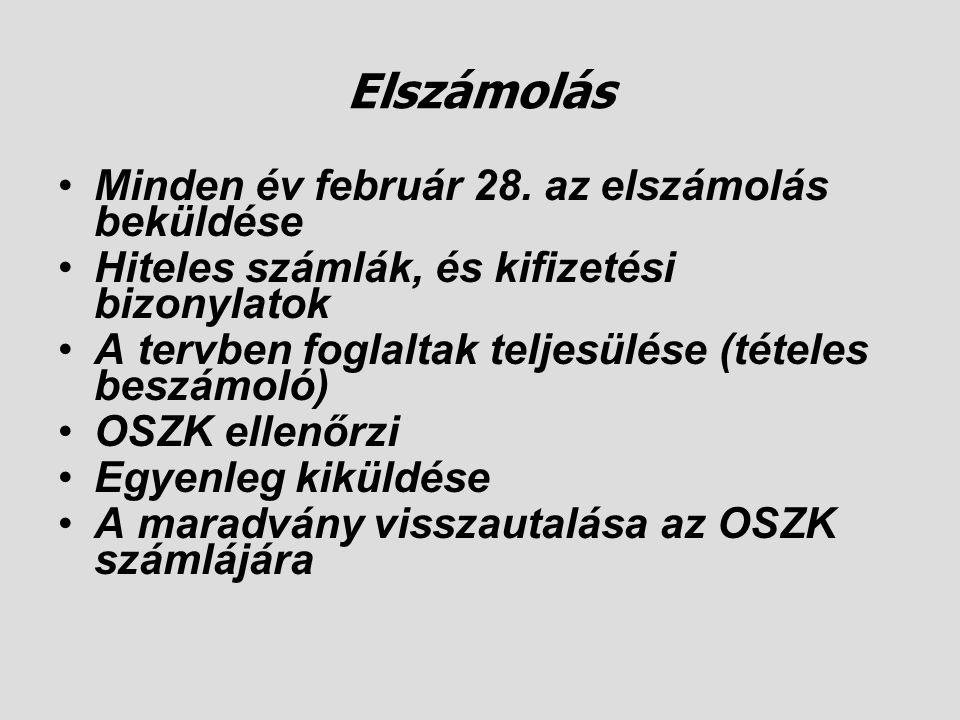 Elszámolás •Minden év február 28. az elszámolás beküldése •Hiteles számlák, és kifizetési bizonylatok •A tervben foglaltak teljesülése (tételes beszám