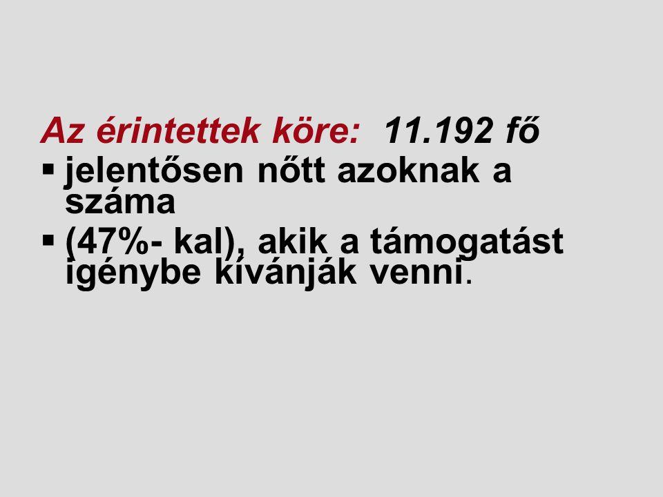 Az érintettek köre: 11.192 fő  jelentősen nőtt azoknak a száma  (47%- kal), akik a támogatást igénybe kívánják venni.