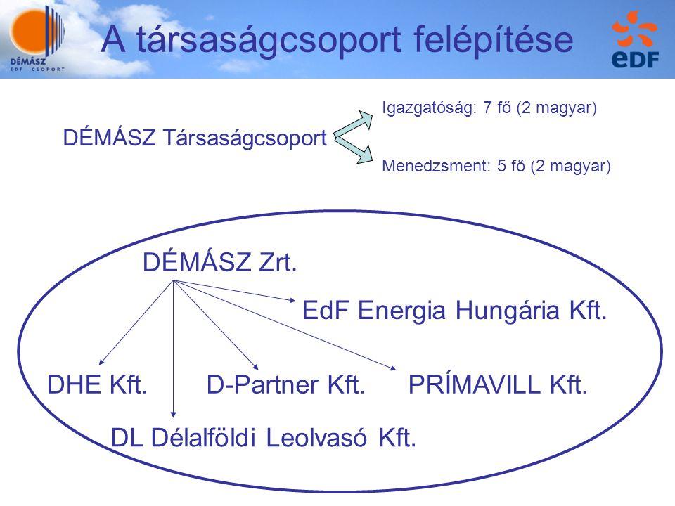 A társaságcsoport felépítése DÉMÁSZ Zrt. EdF Energia Hungária Kft. DHE Kft.D-Partner Kft.PRÍMAVILL Kft. DL Délalföldi Leolvasó Kft. DÉMÁSZ Társaságcso