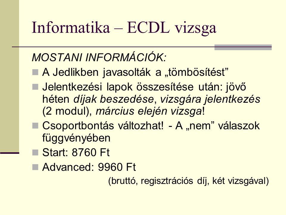 """Informatika – ECDL vizsga MOSTANI INFORMÁCIÓK:  A Jedlikben javasolták a """"tömbösítést""""  Jelentkezési lapok összesítése után: jövő héten díjak beszed"""