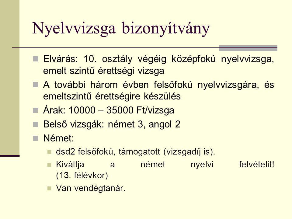 Nyelvvizsga bizonyítvány  Elvárás: 10. osztály végéig középfokú nyelvvizsga, emelt szintű érettségi vizsga  A további három évben felsőfokú nyelvviz