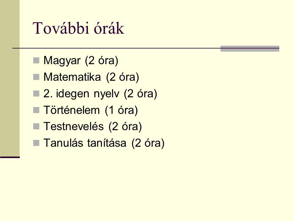 További órák  Magyar (2 óra)  Matematika (2 óra)  2. idegen nyelv (2 óra)  Történelem (1 óra)  Testnevelés (2 óra)  Tanulás tanítása (2 óra)