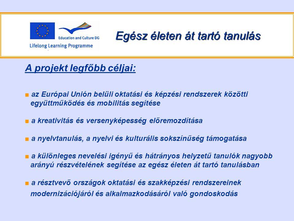 Egész életen át tartó tanulás A projekt legfőbb céljai: ■ az Európai Unión belüli oktatási és képzési rendszerek közötti együttműködés és mobilitás segítése ■ a kreativitás és versenyképesség előremozdítása ■ a nyelvtanulás, a nyelvi és kulturális sokszínűség támogatása ■ a különleges nevelési igényű és hátrányos helyzetű tanulók nagyobb arányú részvételének segítése az egész életen át tartó tanulásban ■ a résztvevő országok oktatási és szakképzési rendszereinek modernizációjáról és alkalmazkodásáról való gondoskodás