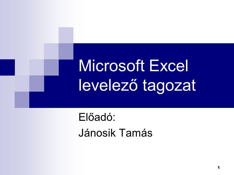 1 Microsoft Excel levelező tagozat Előadó: Jánosik Tamás