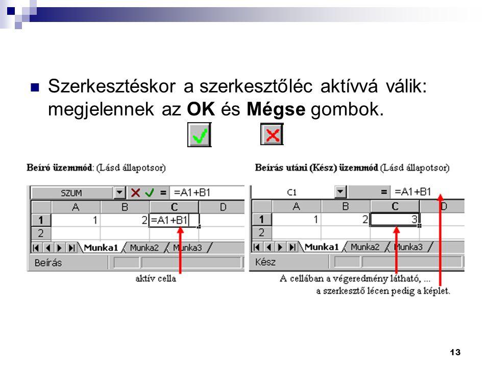 13  Szerkesztéskor a szerkesztőléc aktívvá válik: megjelennek az OK és Mégse gombok.