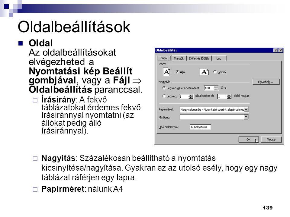 139  Oldal Az oldalbeállításokat elvégezheted a Nyomtatási kép Beállít gombjával, vagy a Fájl  Oldalbeállítás paranccsal.