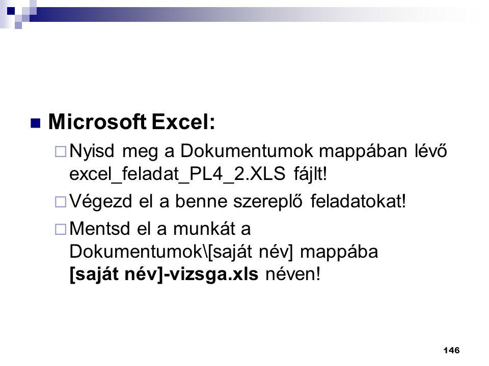 146  Microsoft Excel:  Nyisd meg a Dokumentumok mappában lévő excel_feladat_PL4_2.XLS fájlt.