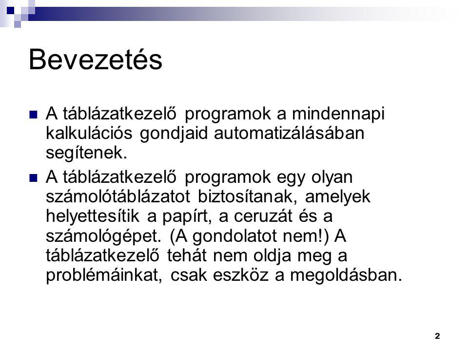 2 Bevezetés  A táblázatkezelő programok a mindennapi kalkulációs gondjaid automatizálásában segítenek.